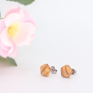 10mm olivewood ear studs - Woodcraft by Owen