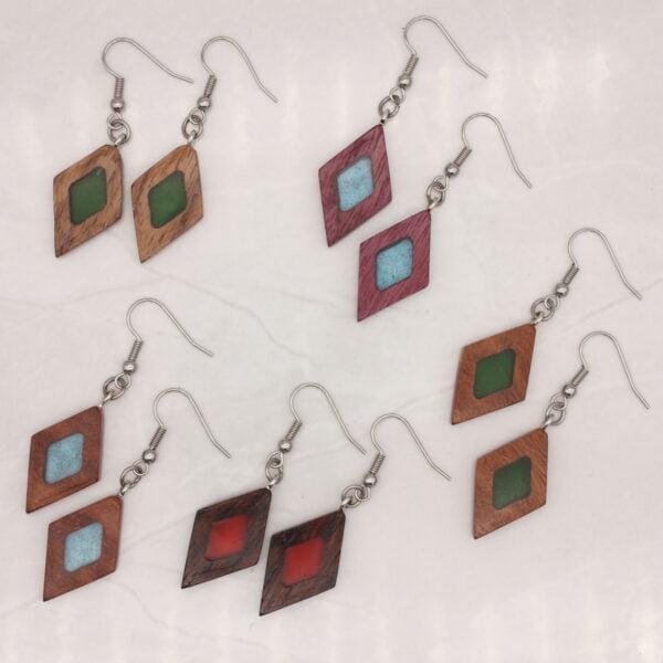Diamond wood and resin earrings. Woodcraft by Owen